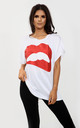 Harper White Oversized Tshirt with Lips Graphic Print by Oops Fashion