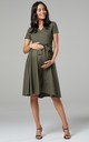 Maternity & Nursing Midi Skater Dress in Khaki 598 by Chelsea Clark