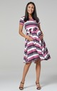Maternity & Nursing Midi Skater Dress in Dusky Pink Stripe 598 by Chelsea Clark