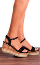 Wedged Cork Flatforms Wedges with Black Straps by Shoe Closet