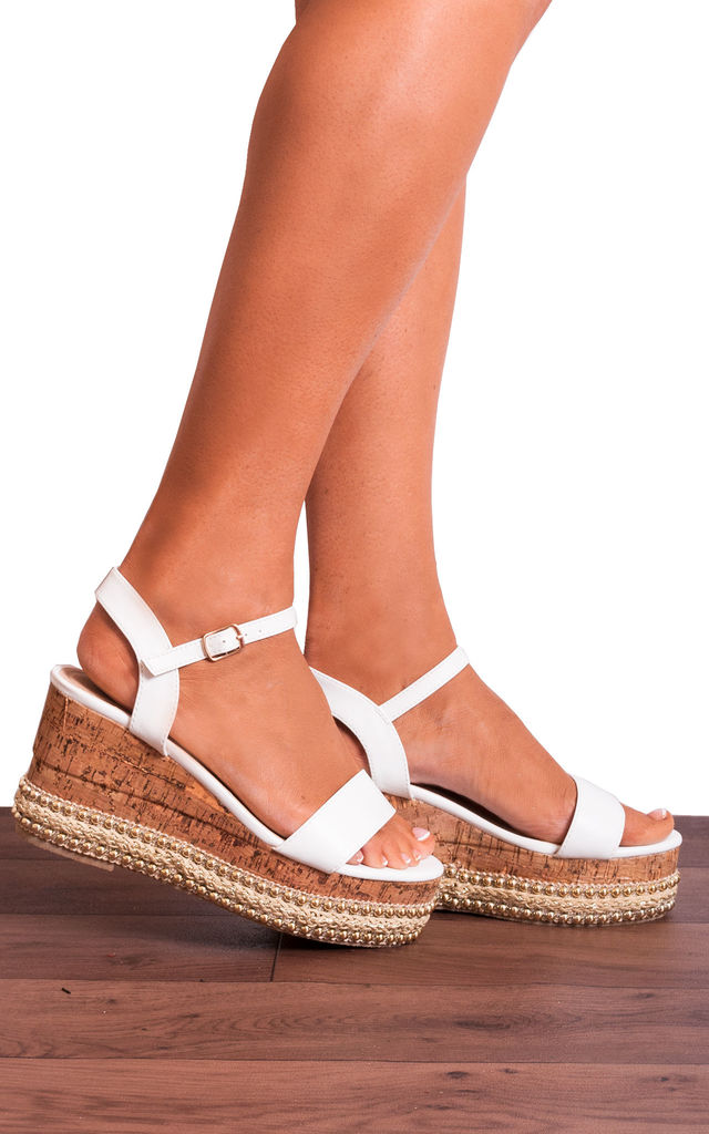 Wedged Cork Flatforms with White Straps by Shoe Closet