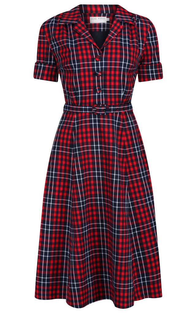 Short Sleeve Shirt Dress in Navy & Red Check by Zoe Vine