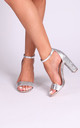 Kori Silver Barely There With Glitter Block Heel by Linzi