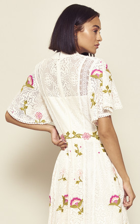 Isabella Off White Lace Skater Dress with Floral Embroidery by Frock & Frill