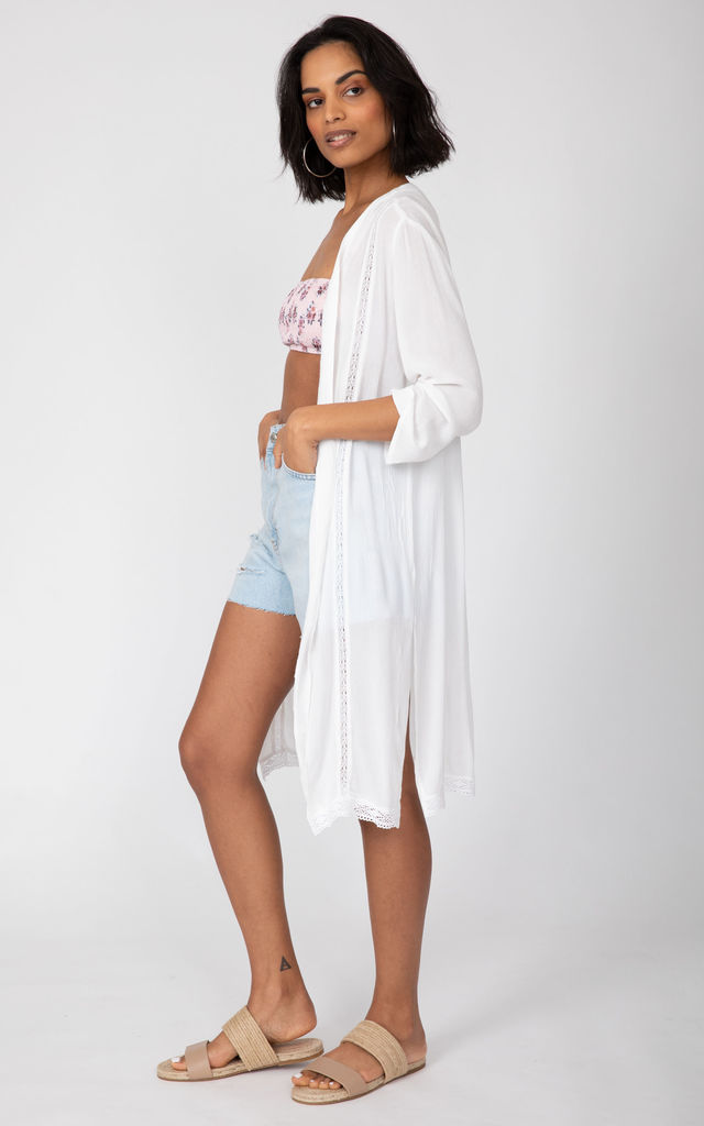 Summer Kaftan Kimono Coverup White Lace Trim Crinkle by likemary