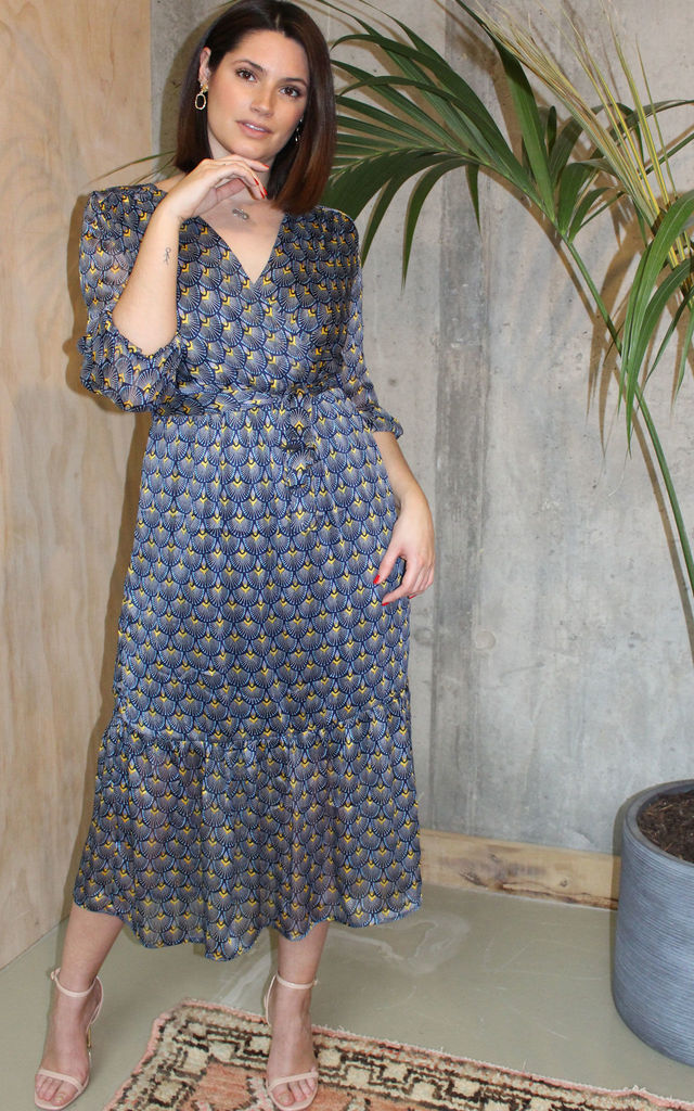 Satin Wrap Dress in Blue Geo Print by Another Style London