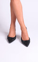 Espresso Black Nappa Court Heels With Ruched Toe Detail by Linzi