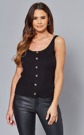 Vest Top With Button Front In Black by ONLY Product photo