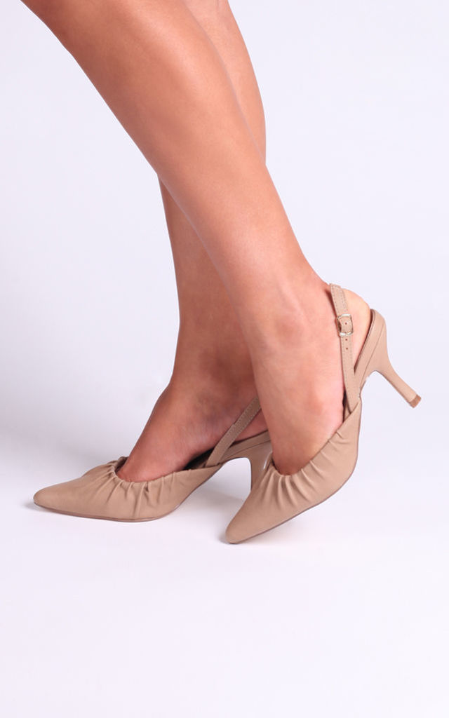 Espresso Taupe Nappa Court Heels With Ruched Toe Detail by Linzi