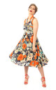 Vintage Style Collared Midi Dress in Orange Floral Print by Looking Glam