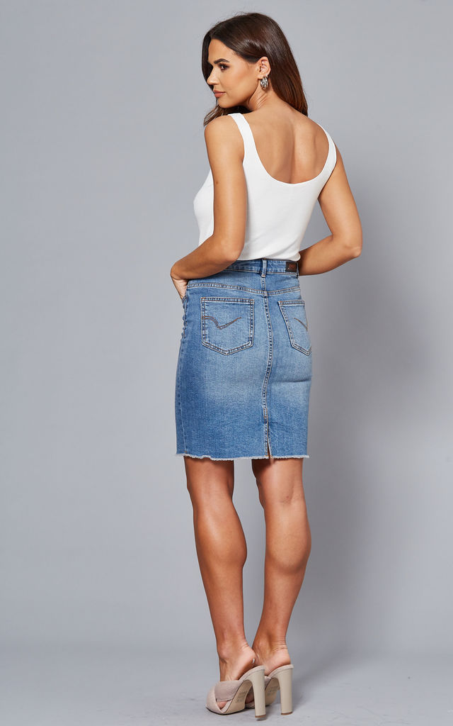 Denim Skirt with raw hemline in Medium Blue by ONLY