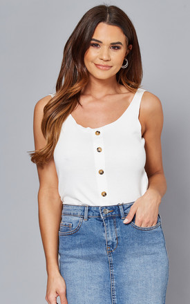 Vest Top With Button Front In White by ONLY Product photo