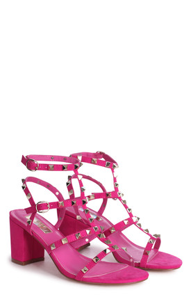 Tessa Hot Pink Suede Block Heel Sandals by Linzi