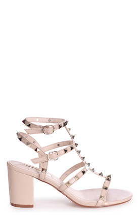 Tessa Beige Block Heel Sandals with Studs by Linzi