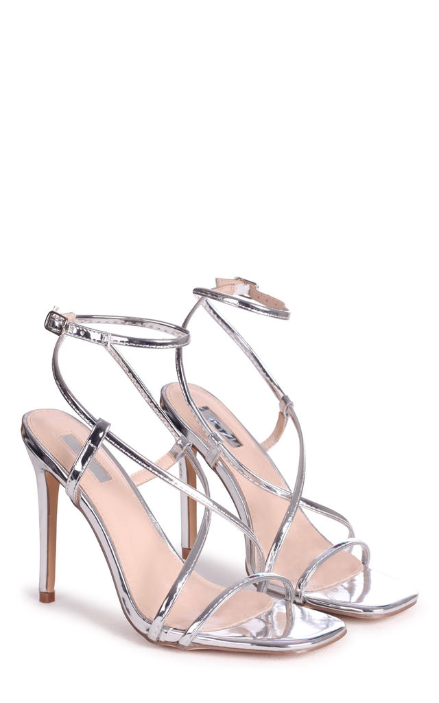 Effie Silver Chrome Strappy Stiletto Heels by Linzi