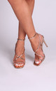 Effie Rose Gold Chrome Strappy Stiletto Heels by Linzi