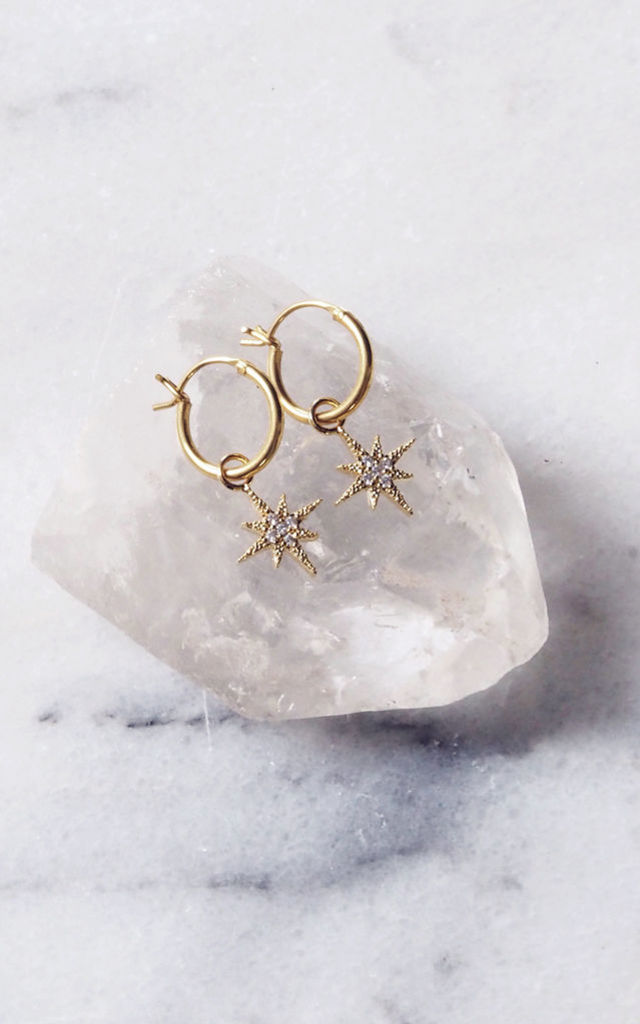ELSA. Bridesmaid Star Hoop Earrings | Will you be my maid of honour? | Gold Pavé by Aluna Mae