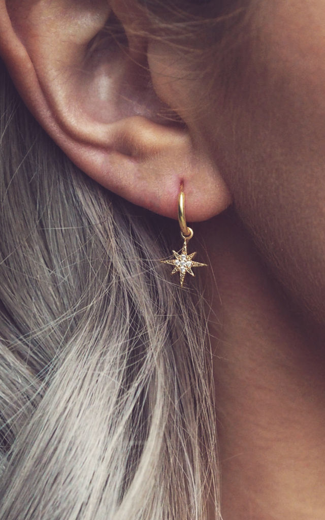ELSA. Bridesmaid Star Hoop Earrings | Thank you for being my bridesmaid! | Gold Pavé by Aluna Mae