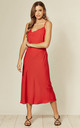 Cowl Neck Satin Slip Cami Midi Dress in Red by HOXTON GAL