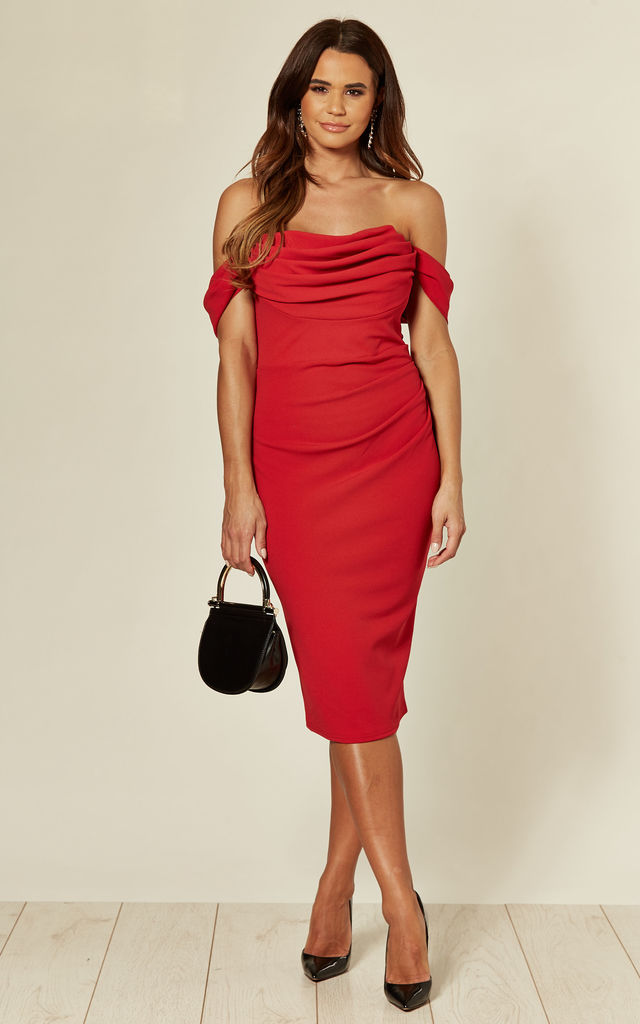 COWL NECK PLEATED WAIST MIDI DRESS IN RED by City Goddess