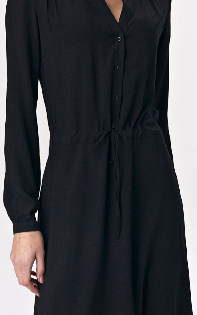 Button Up Long Sleeve Maxi Dress in Black by so.Nife