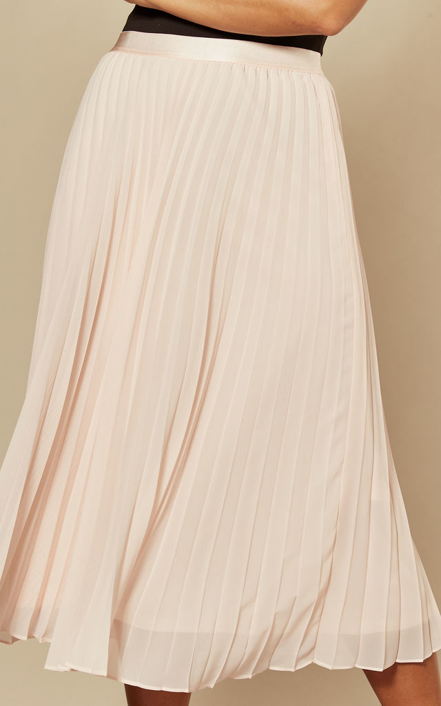 Flori Pleated Midi skirt in Blush by Style Cheat