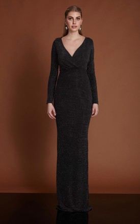 Helina Long Sleeve Maxi Dress in Black Sparkle by BeryOzLondon