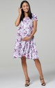 Maternity & Nursing Midi Skater Dress in White Floral Print 598 by Chelsea Clark