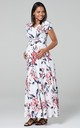 Maternity & Nursing Maxi Dress in White Floral Print by Chelsea Clark