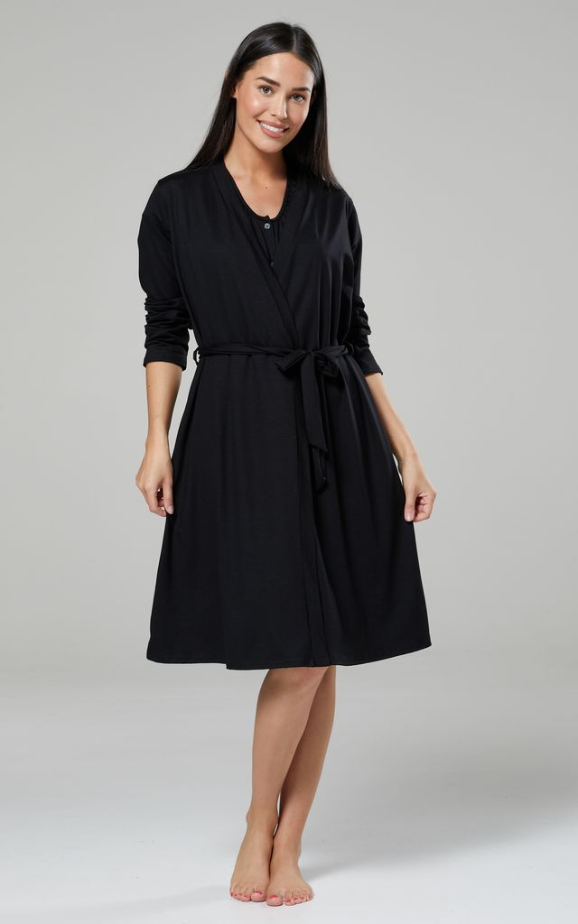 Black Maternity Hospital Set | Robe Nightie & Bag 1009 by Chelsea Clark