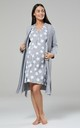 Grey Star Print Maternity Hospital Set | Robe Nightie & Bag by Chelsea Clark