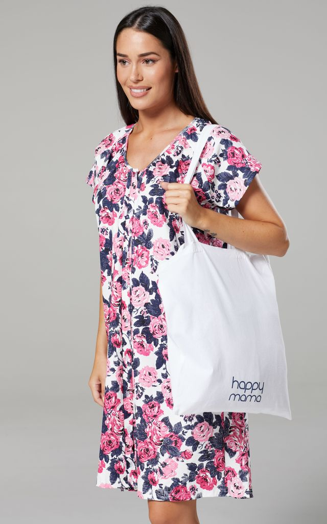 White Floral Print Maternity Hospital Set | Robe Nightie & Bag by Chelsea Clark