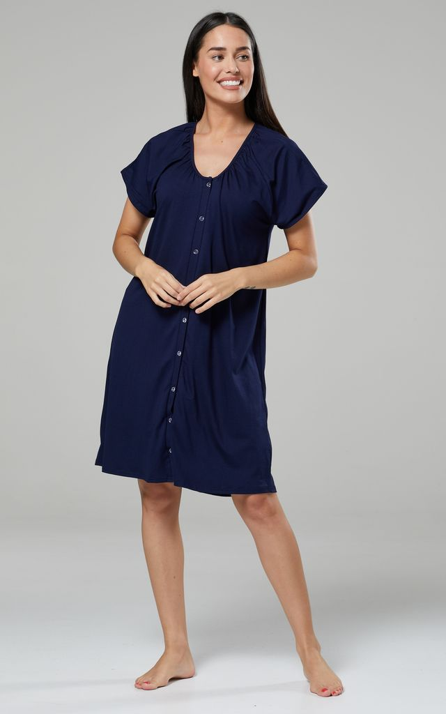 Navy Maternity Hospital Set | Robe Nightie & Bag by Chelsea Clark