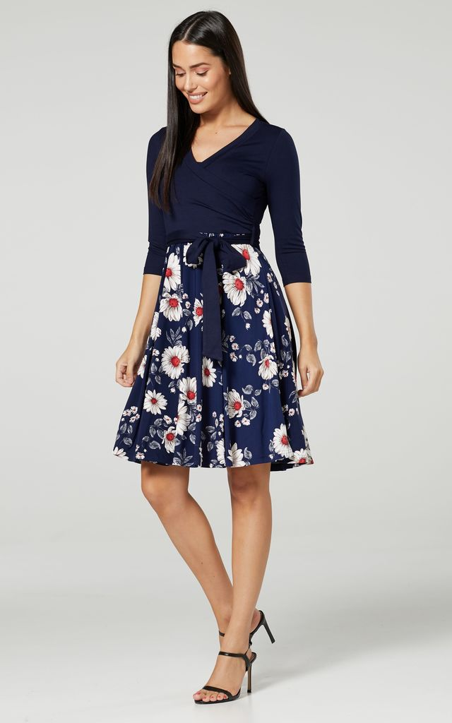 Navy Floral Print Maternity Skater Dress 525 by Chelsea Clark
