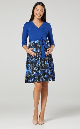 Maternity Skater Dress in Royal Blue Floral Print 525 by Chelsea Clark