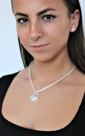 925 Sterling Silver Mesh Double Heart Necklace by GIGILAND Product photo
