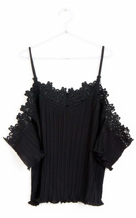 Cami Cold shoulder LACE PLEATED TOP in black by LOES House