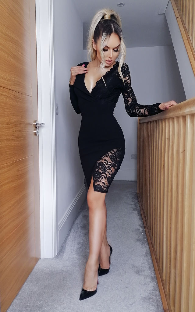 Rosaline Black Lace Wrap Blazer Dress by Missfiga