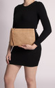 Fabiana Straw Imitation Pouch in Camel by KoKo Couture