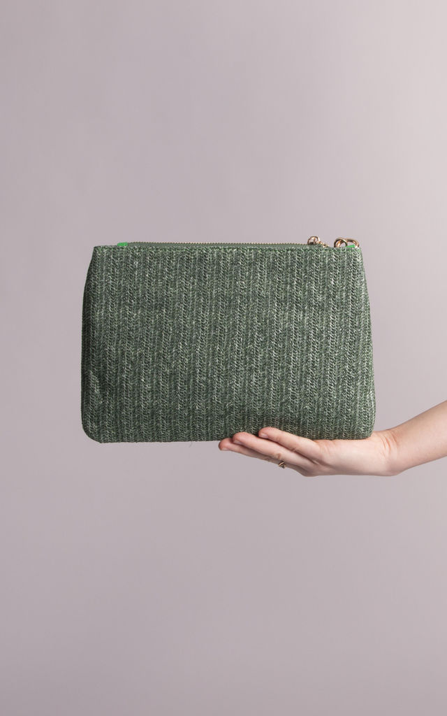 Fabiana Green Straw Imitation Pouch by KoKo Couture