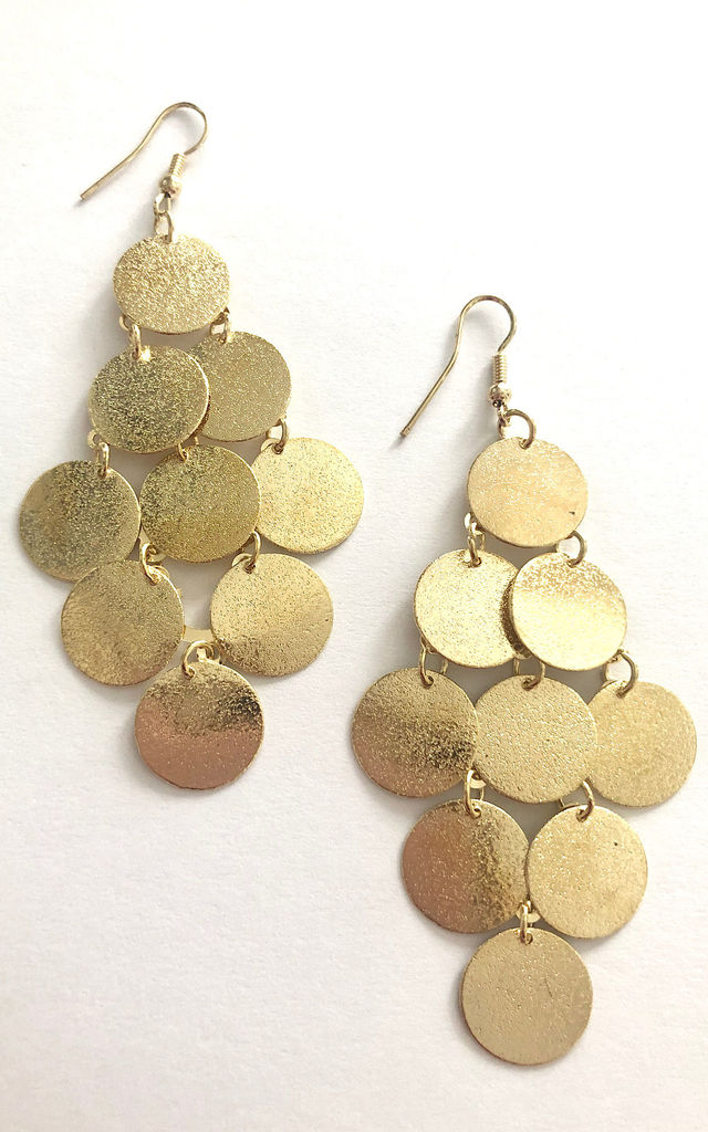 Silver multi disc grecian earrings by Lovelock jewels