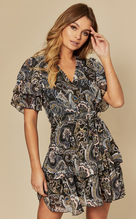 Ruffled Chiffon Mini Dress In Black Paisley Print by AX Paris Product photo