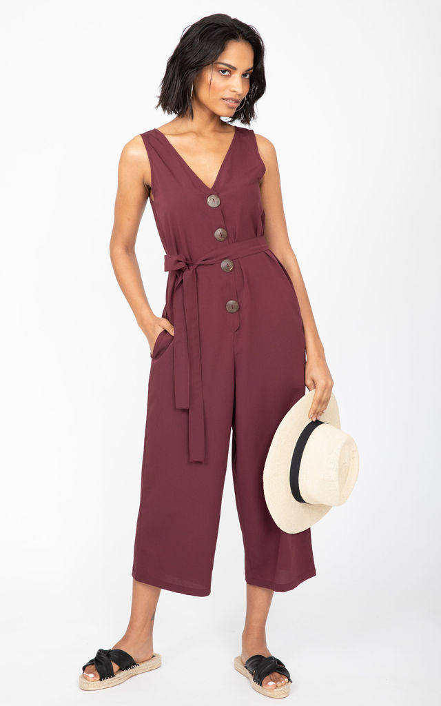 Sleeveless Cropped Jumpsuit in Burgundy Red by likemary