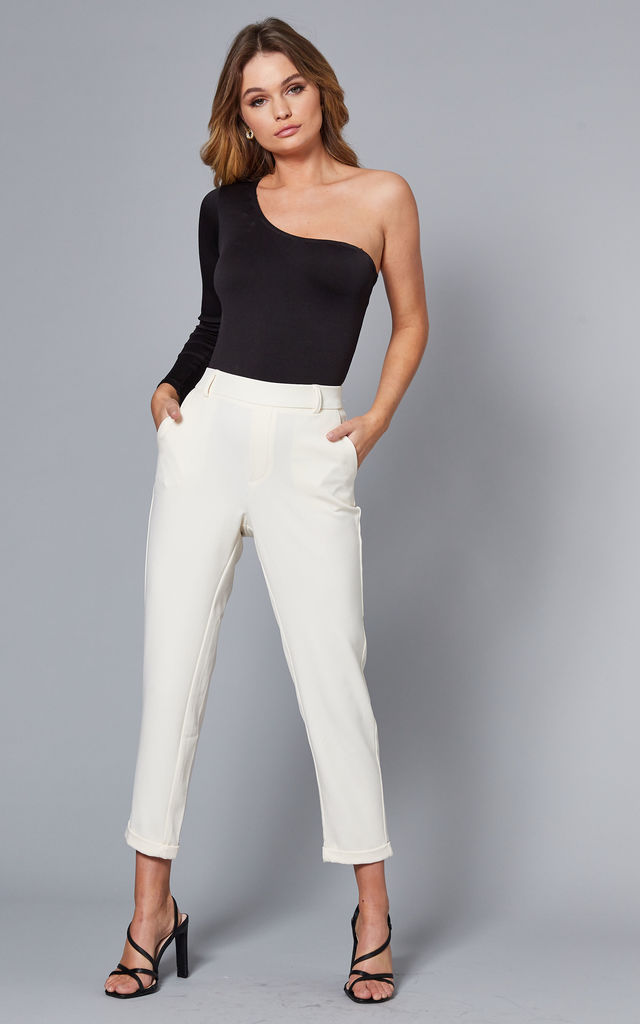 Cropped Straight Leg Trousers in Cream by VM