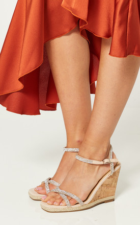 Nude Wedges With Diamante Straps by Truffle Collection Product photo