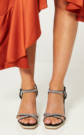 Black Wedges with Diamante Straps by Truffle Collection