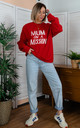 Red Sweatshirt with Mum On A Mission Slogan by Rock On Ruby