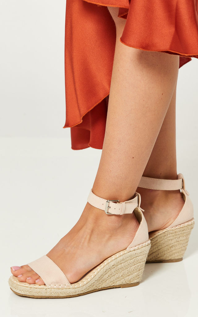 Nude Wedges With Buckle Ankle Strap by Truffle Collection