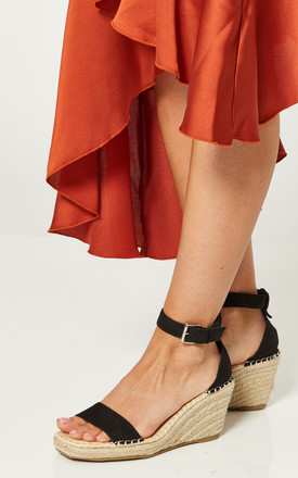 Black Wedges With Buckle Ankle Strap by Truffle Collection Product photo