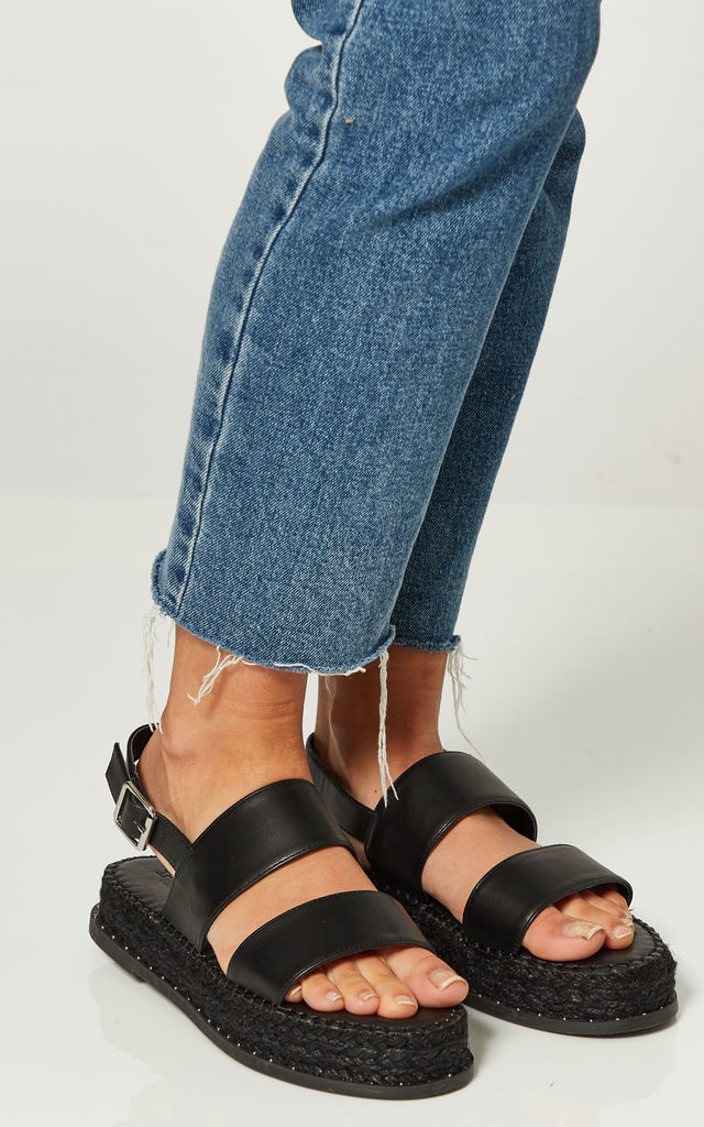 Black Flatform Espadrille Sandals by Truffle Collection